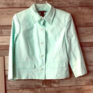 Apostrophe mint green jacket front buttons size 12